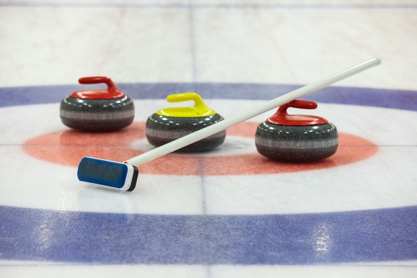 Curling rocks on ice